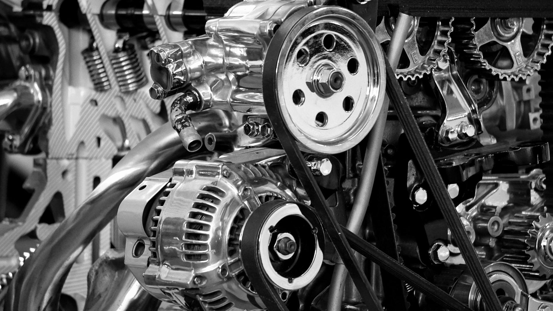 Ein Automotor in Nahaufnahme