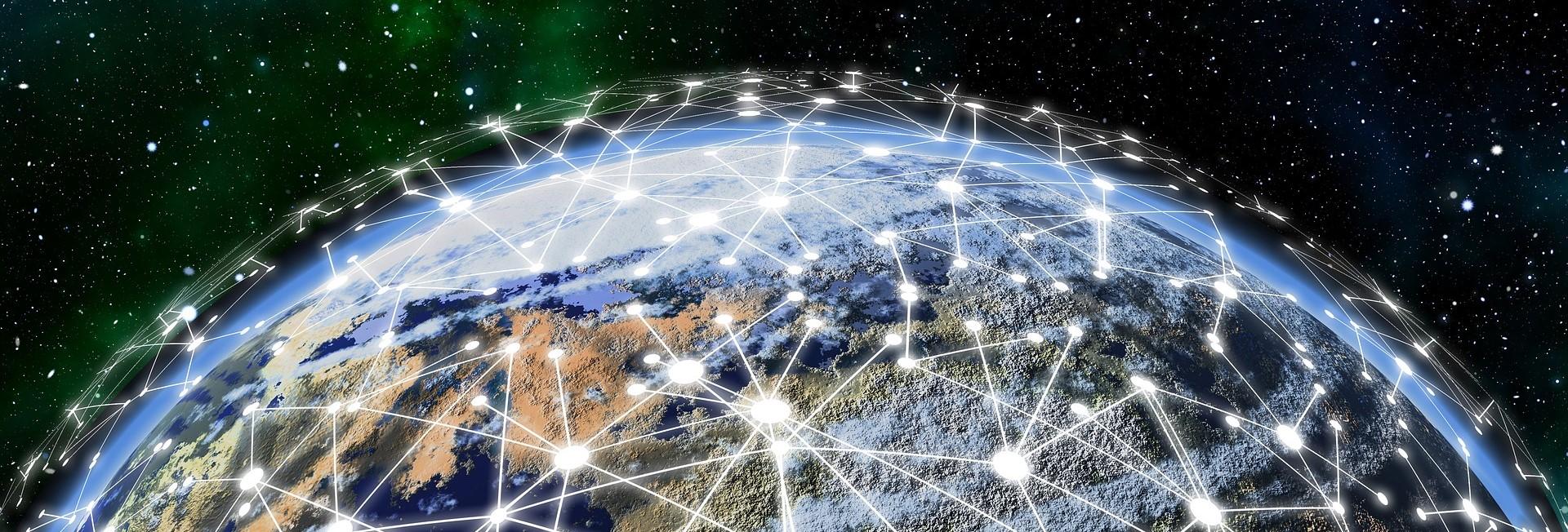 Symbolbild digitalisierte Welt: Globus mit vernetzten Linien