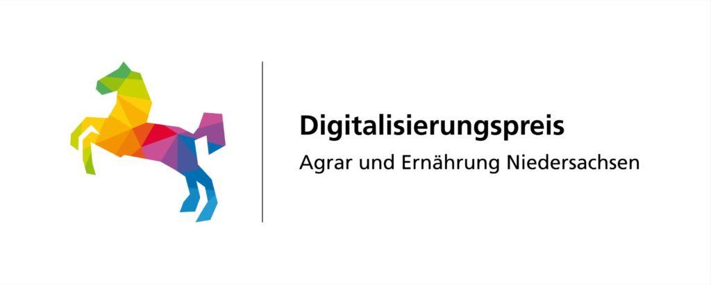 Logo des Digitalisierungspreises Agrar und Ernährung Niedersachsen mit buntem Niedersachsenpferd