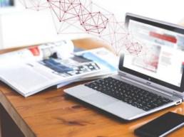 Symbolbild Webinare mitunsdigital: Laptop, auf dem das Lernangebot von mitunsdigital! geöffnet ist