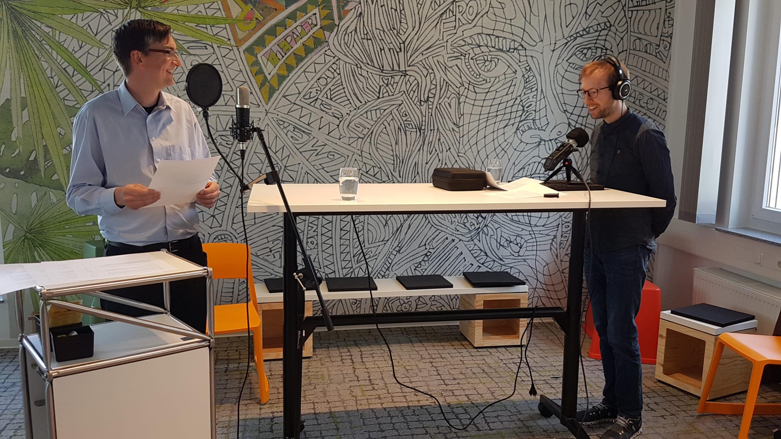 Christian Wagener und Tobias Droßmann während der Aufzeichnung