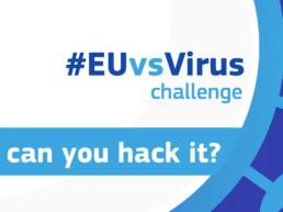 Bild mit schematischer Drstellung eines Virus und der Aufschrift #EUvsVirusVirus