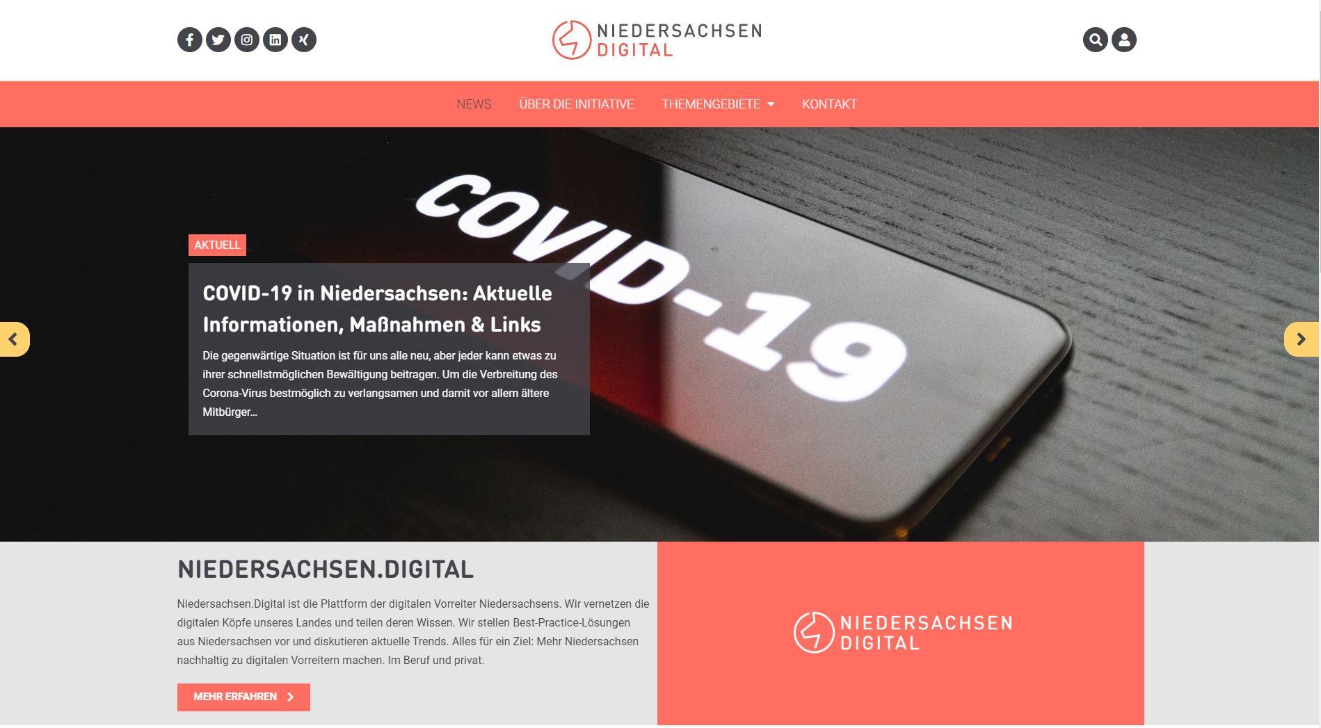 Startseite des neuen Portals Niedersachsen.digital