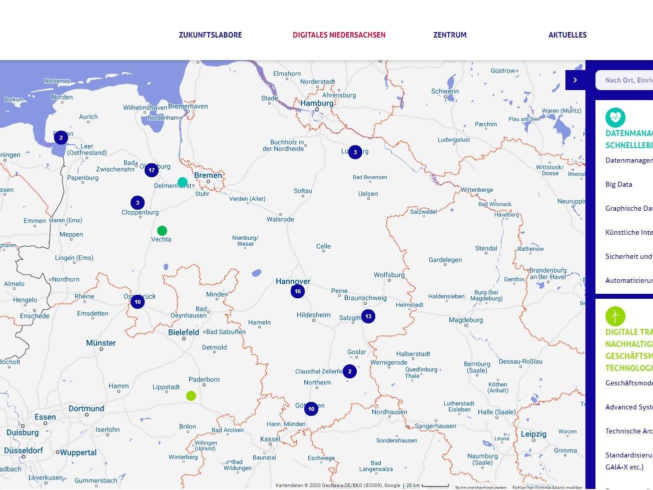 Screenshot der Forschungslandkarte des ZDIN