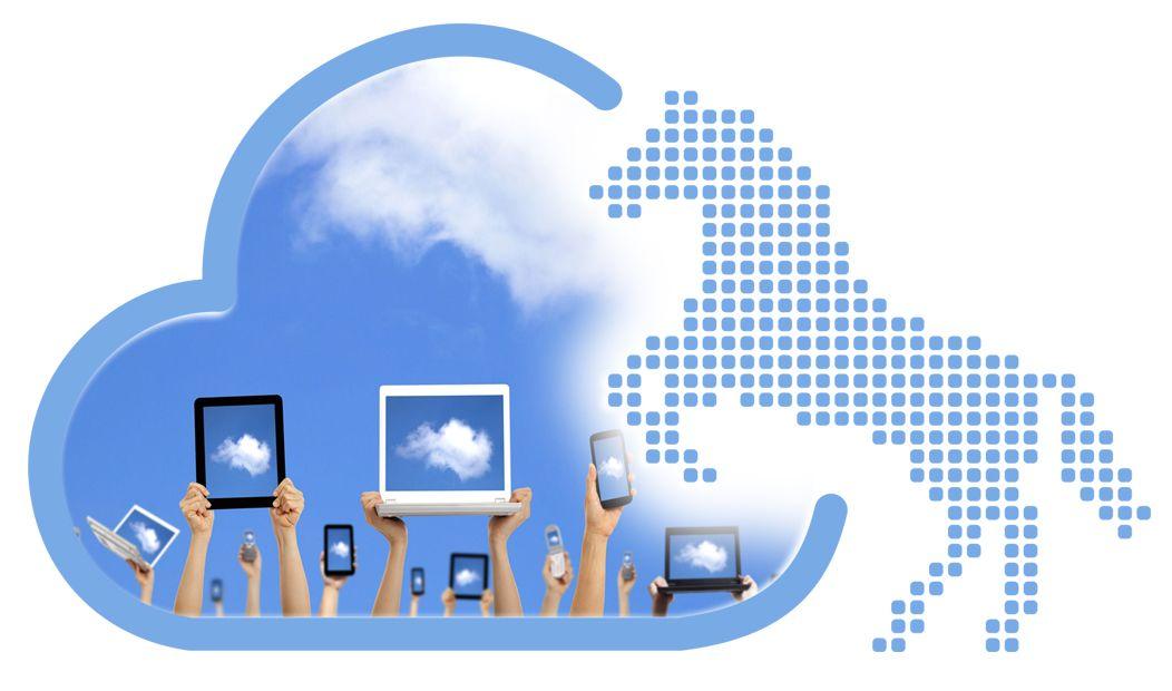Ein umrissenes Niedersachsen-Ross aus blauen Punkten und Arme, die digitale Endgeräte in die Luft halten. Als Hintergrund dient eine Wolke (Cloud).