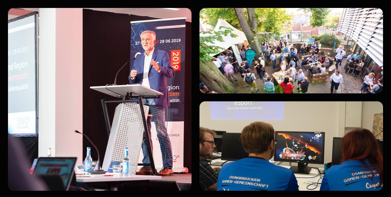 Kollage aus Bildern der Digitalen Woche Osnabrück mit Reden, Publikum und Workshops