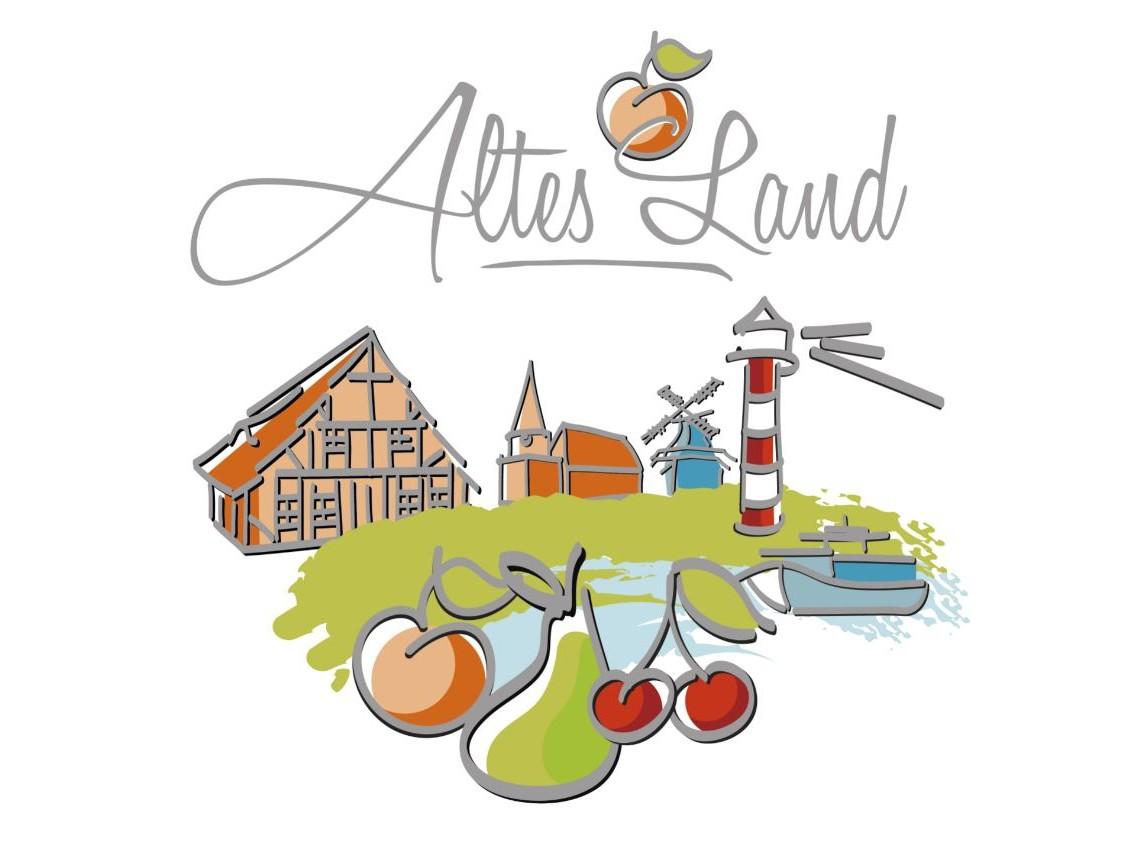 Logo des Tourismusvereins Altes Land mit gezeichneter Landschaft und Schriftzug