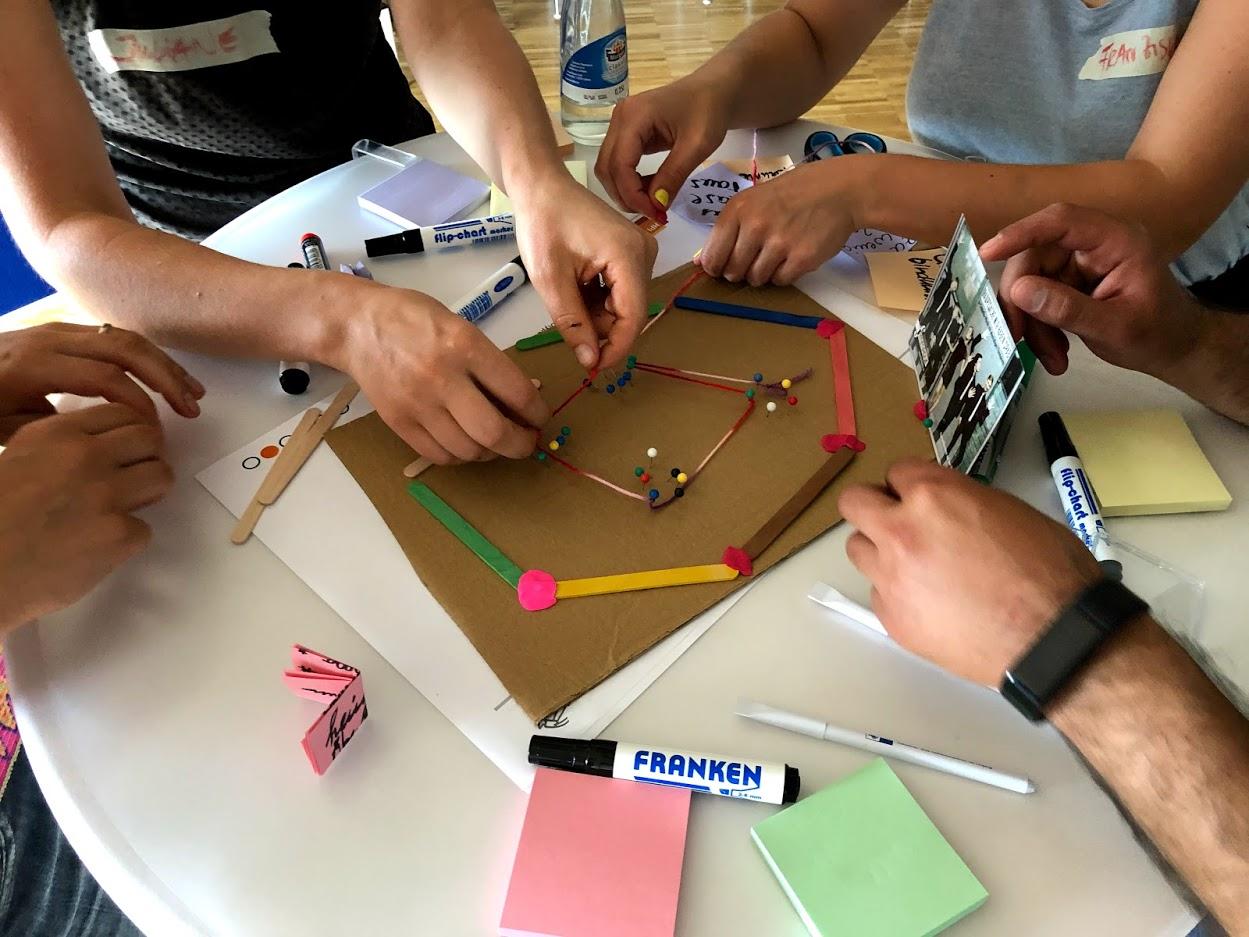 Sicht auf einen Tisch mit Händen von Seminarteilnehmern und Utensilien.