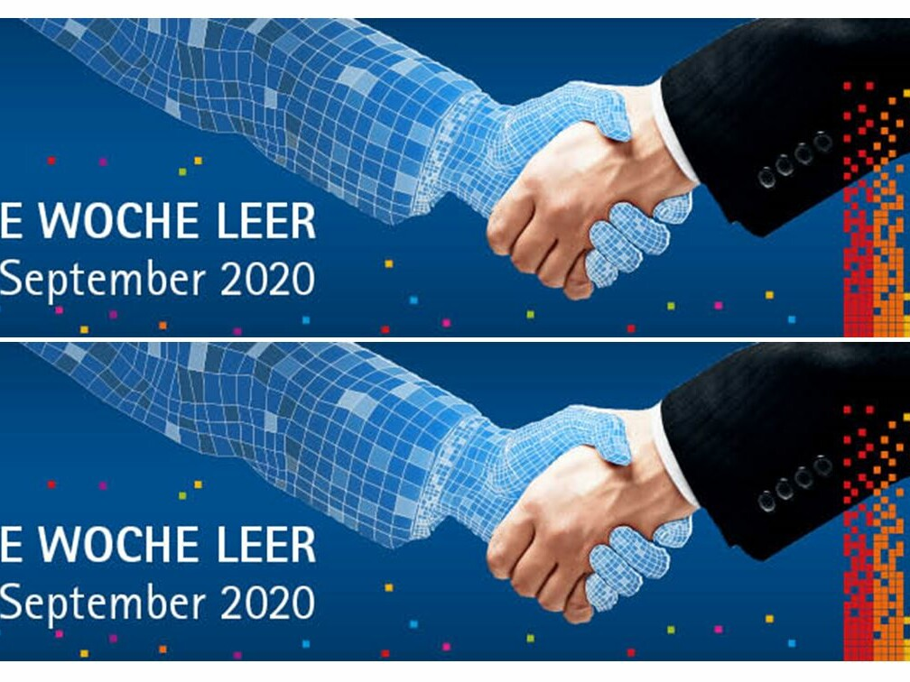 Doppeltes Logo mit angedeutetem virtuellen Handschlag und Schriftzug der Digitalen Woche Leer 2020.