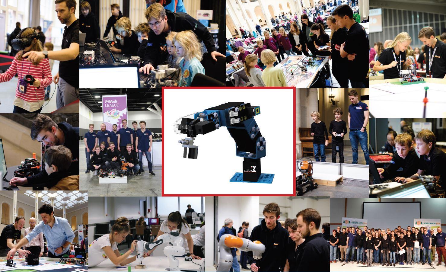Bildkollage aus Veranstaltungsfotos mit zahlreichen Schülern und dem Prototypen eines Roboterarms.