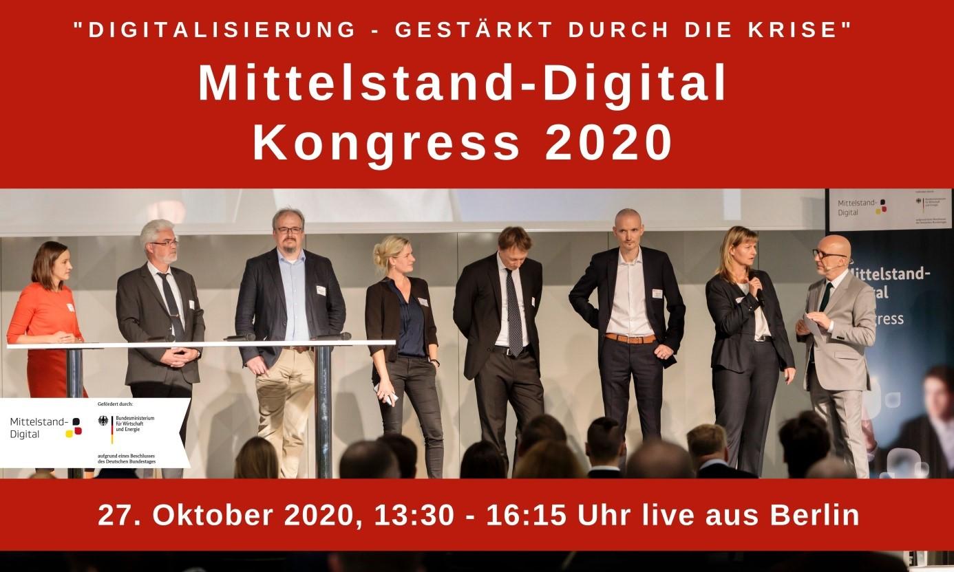 Bild und Schriftzug zum Mittelstand-Digital-Kongress 2020 mit Gruppenbild einer vergangenen Veranstaltung.