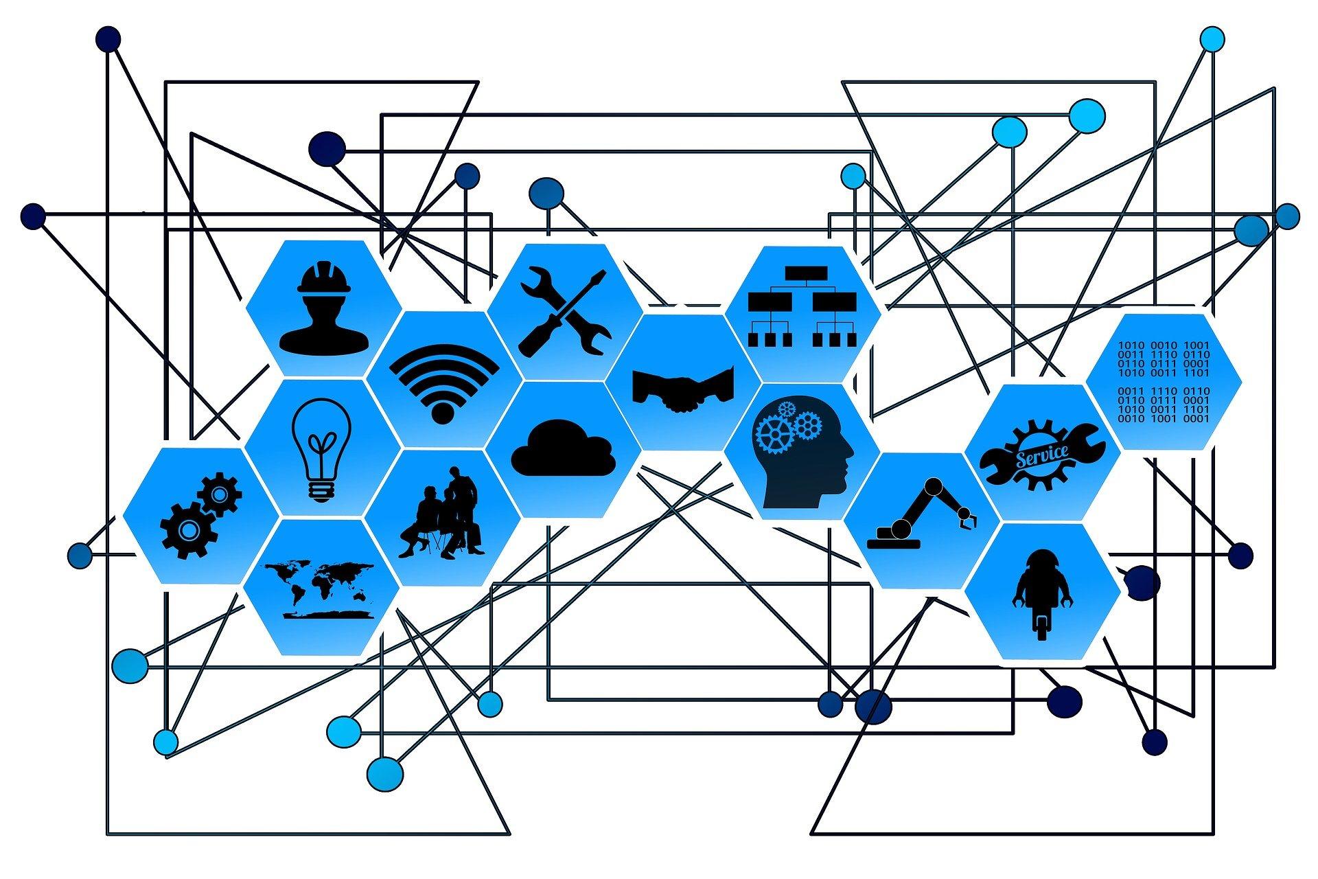 Schaubild mit vielen blauen, sechseckigen Kacheln zum Thema Industrie 4.0