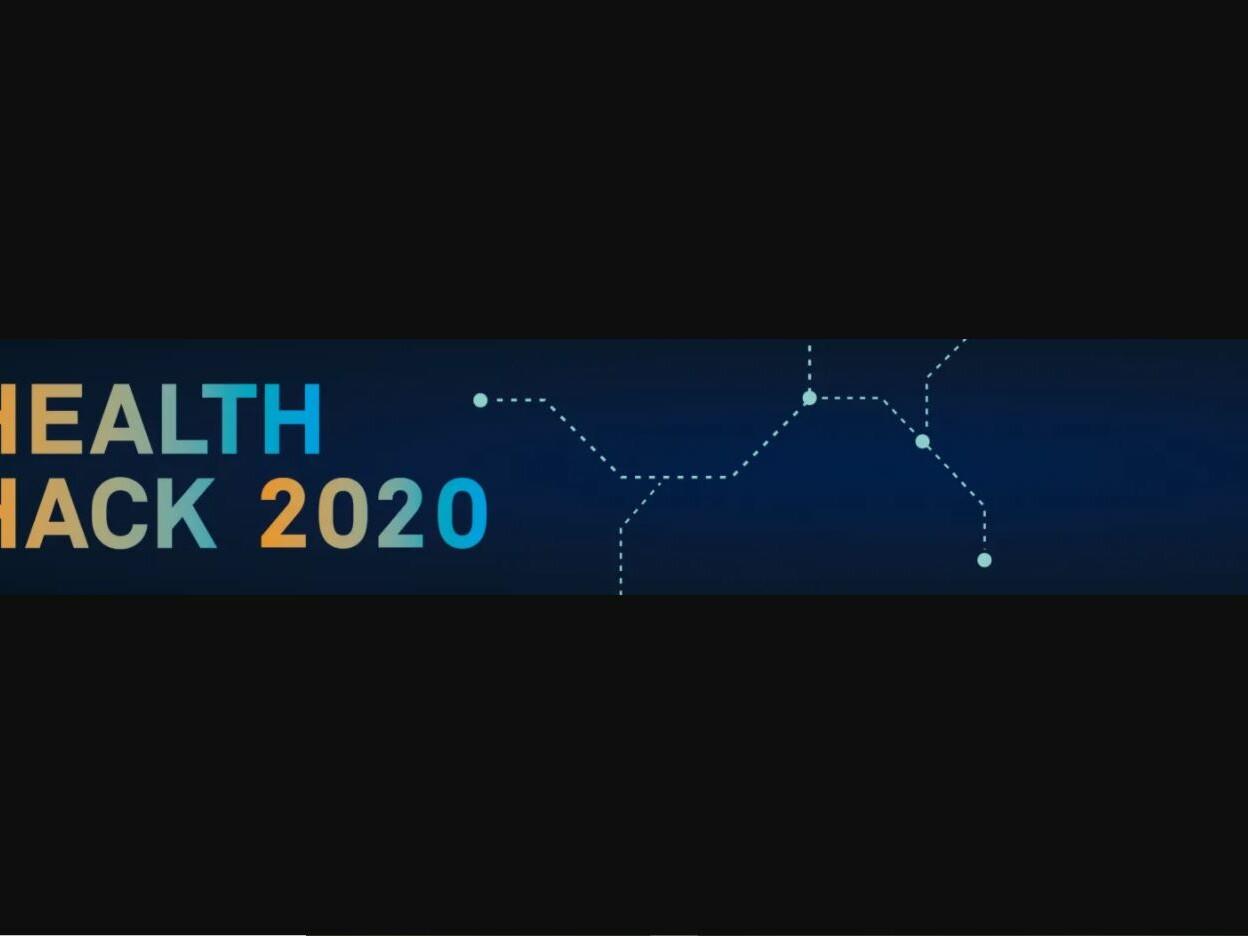 Logo Health Hack 2020 bunte Schrift auf einem blauen Streifen auf schwarzem Hintergrund
