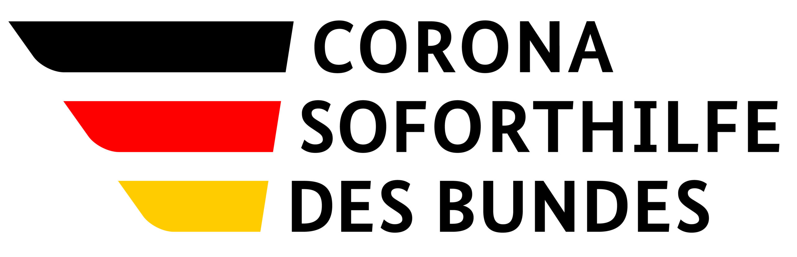 Corona Soforthilfe des Bundes, Logo mit schwarz-rot-goldenen Streifen.