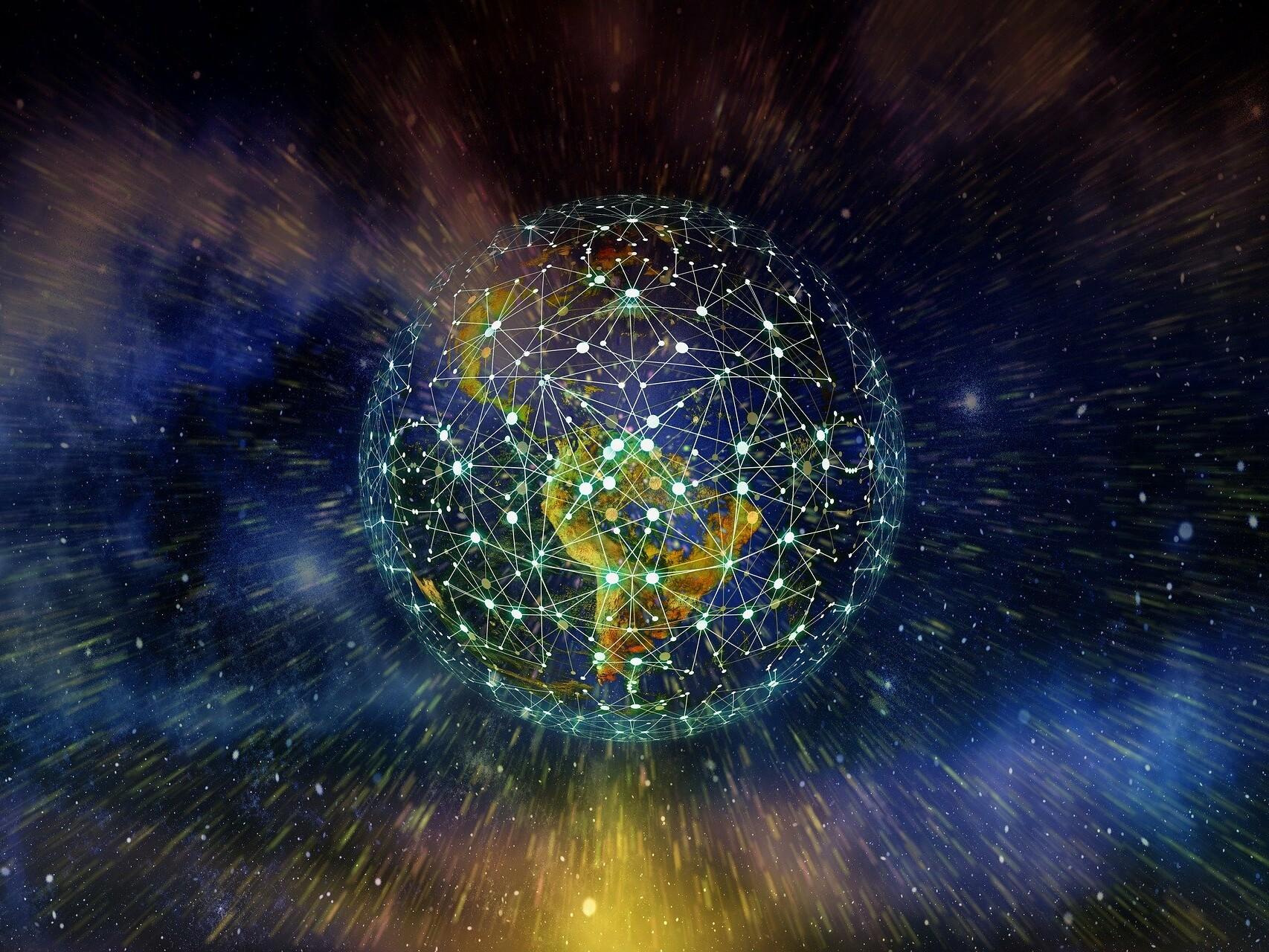 Digitale Darstellung der Weltkugel mit Vernetzung.