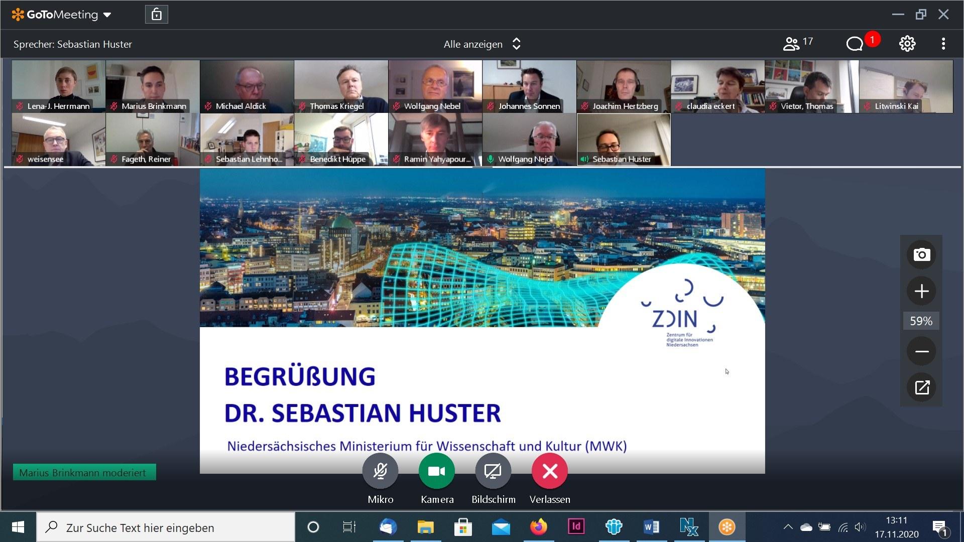 Screenshot eines Online Meetings des ZDIN Beirats mit zahlreichen Mitgliedern.