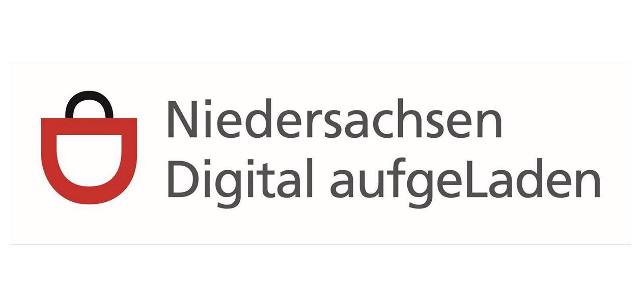 Niedersachsen digital aufgeladen, Logo mit angedeuteter Einkaufstasche