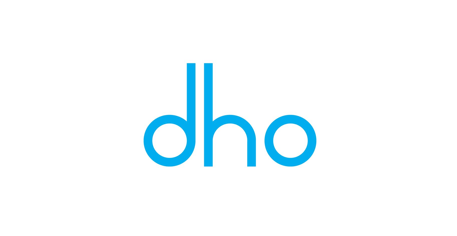 Logo des Digital Hubs Niedersachsen, drei Buchstaben dho in klein und hellblau