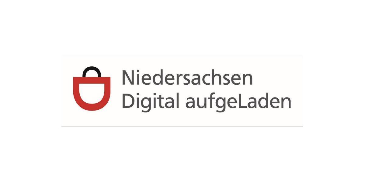 Logo des Programms Niedersachsen Digital aufgeLaden mit stilisierter Einkaufstasche