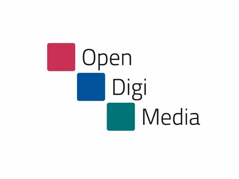 Logo von OpenDigiMedia mit Schriftzug und drei Vierecken in Rot, Blau und Grün.