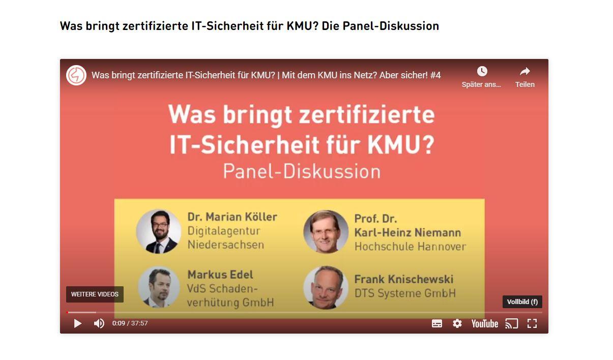 Alle Teilnehmer der Paneldiskussion des Online-Events Mit dem KMU ins Netz, aber sicher.