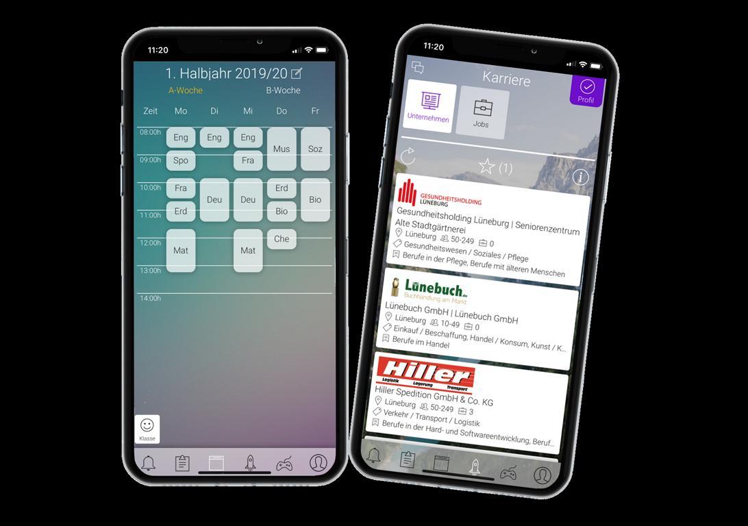 Zwei Screenshots der App von berry2b:. einmal exemplarisch einen Stundenplan aus dem Schulteil der App sowie eine Übersicht regionaler Unternehmen aus dem Karrierebereich