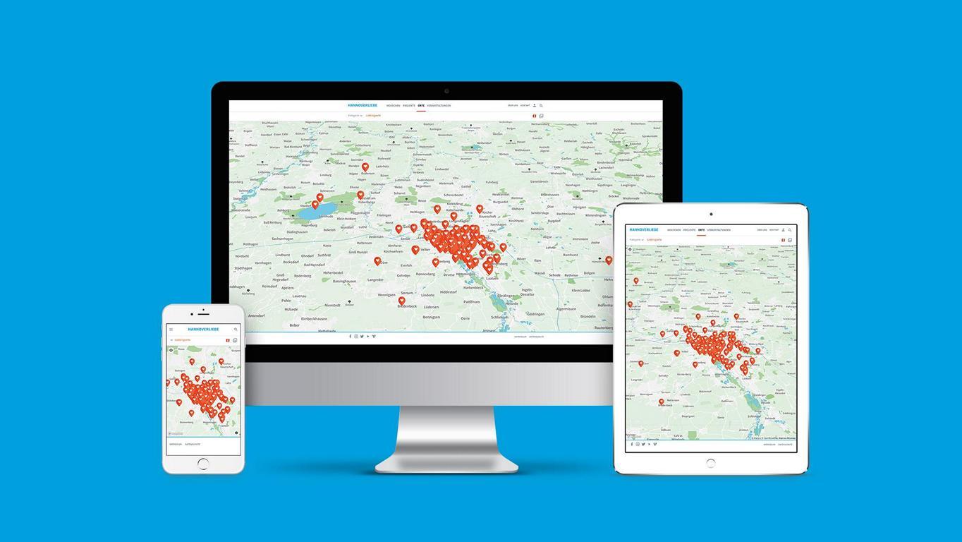 Auf dem Bild wird die responsive Anwendung von Hannoverliebe.de
