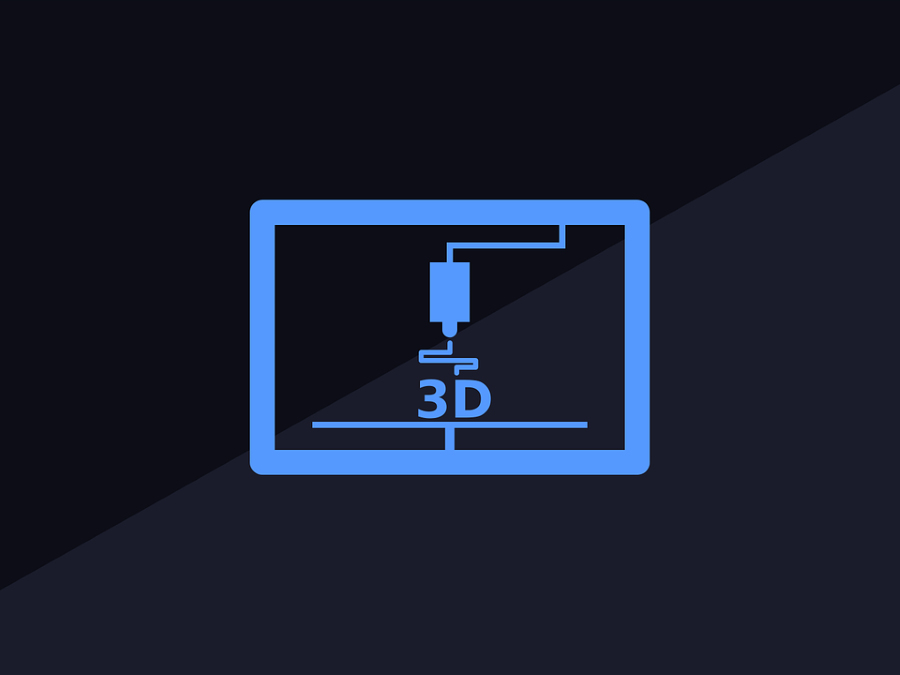 Grafik 3D-Druck mit angedeutetem 3D-Druckkopf über dem Schriftzug 3D.