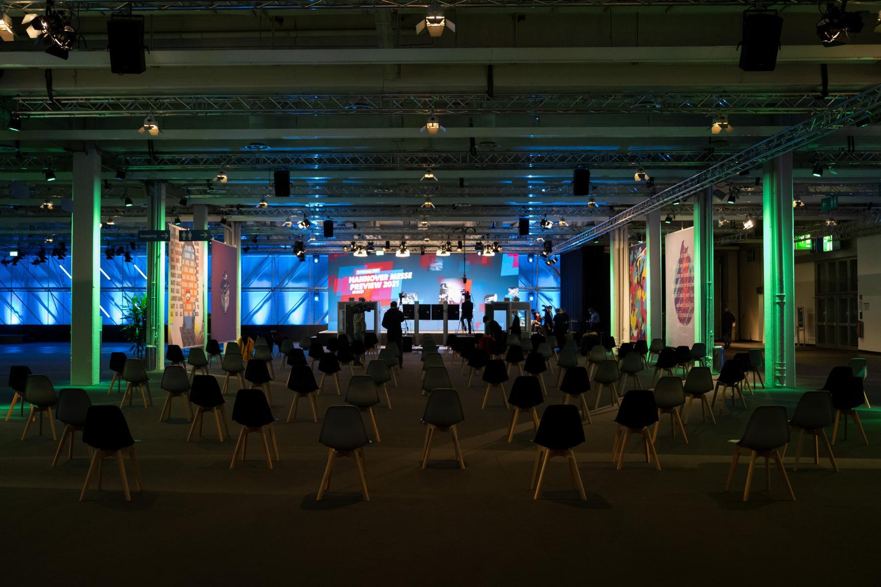 Blick in eine Veranstaltungshalle der Hannover MEsse