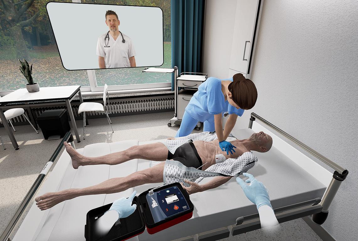Virtual Reality Ansicht einer Herzdruckmassage.