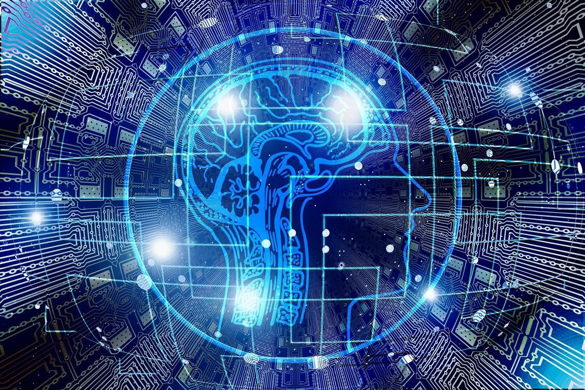 Gehirn mit Datensträngen und erleuchteten Zonen stellt Denkmuster dar.