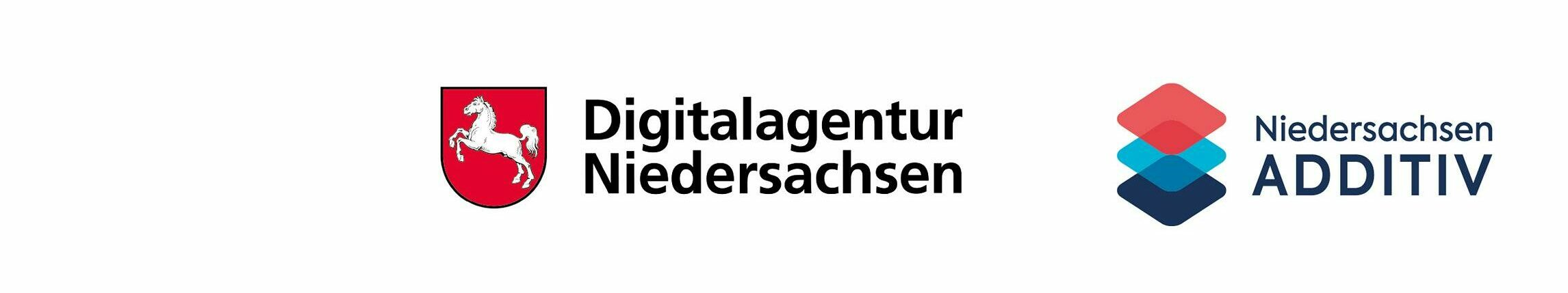Logobanner mit den Logos von Digitalagentur Niedersachsen und Niedersachsen Additiv