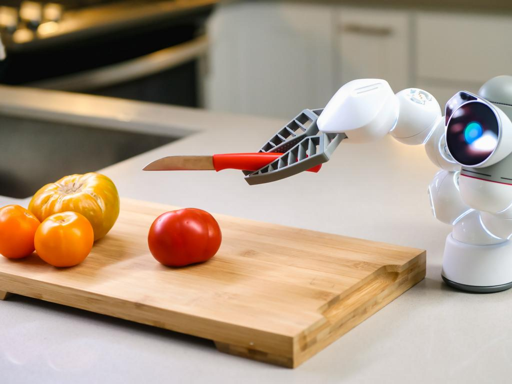 Roboter schneidet Tomaten.