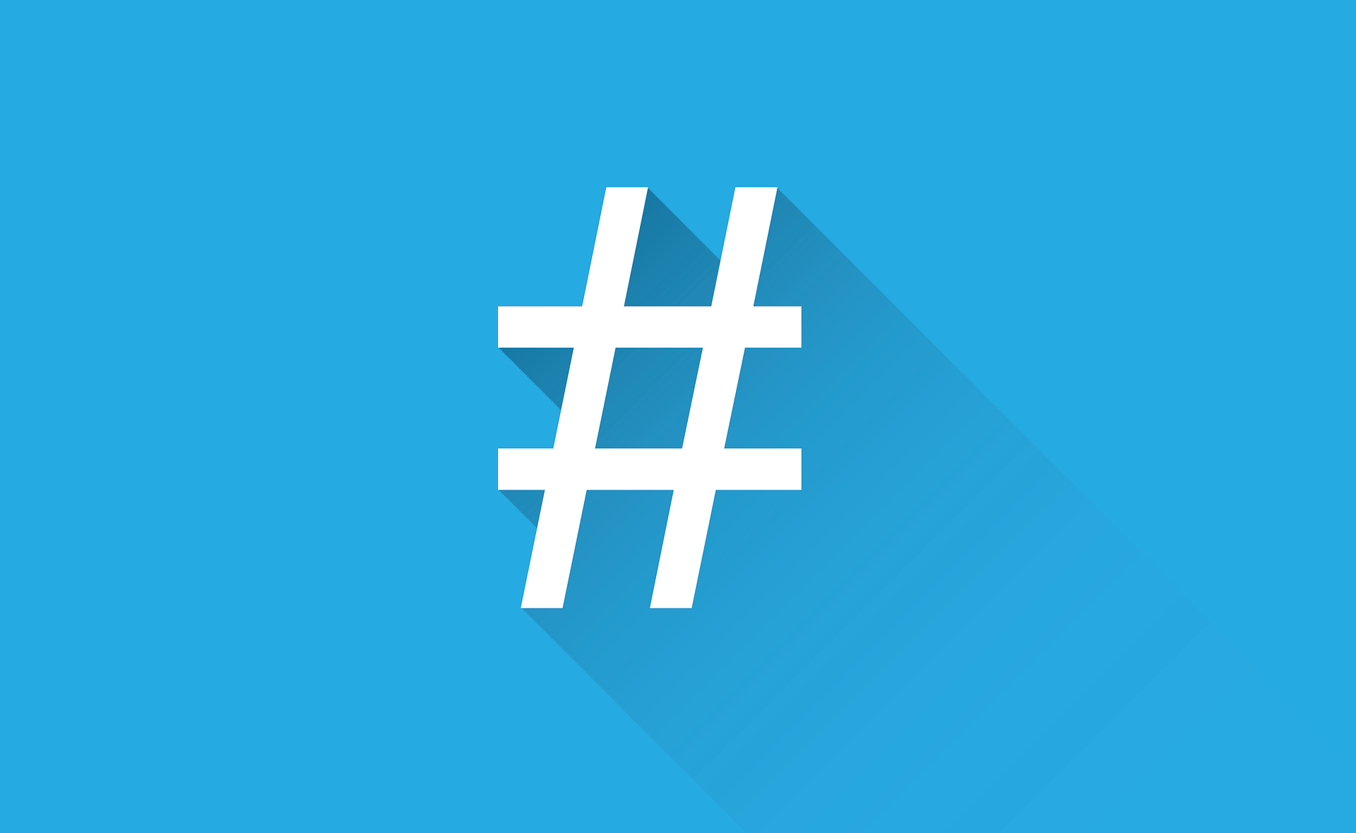 Weißer Hashtag auf blauem Hintergrund