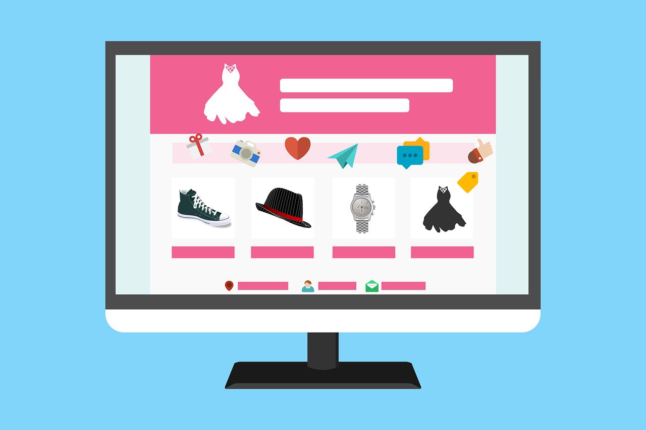 Grafik einer stilisierten Homepage mit Produkten, die online erworben werden können.