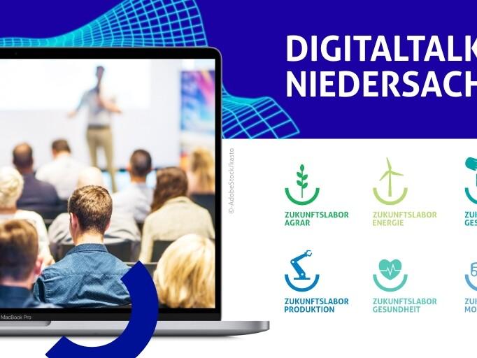 Grafik für den Digitaltalk Niedersachsen mit Publikum und Symbolen der einzelnen Zukunftslabore.