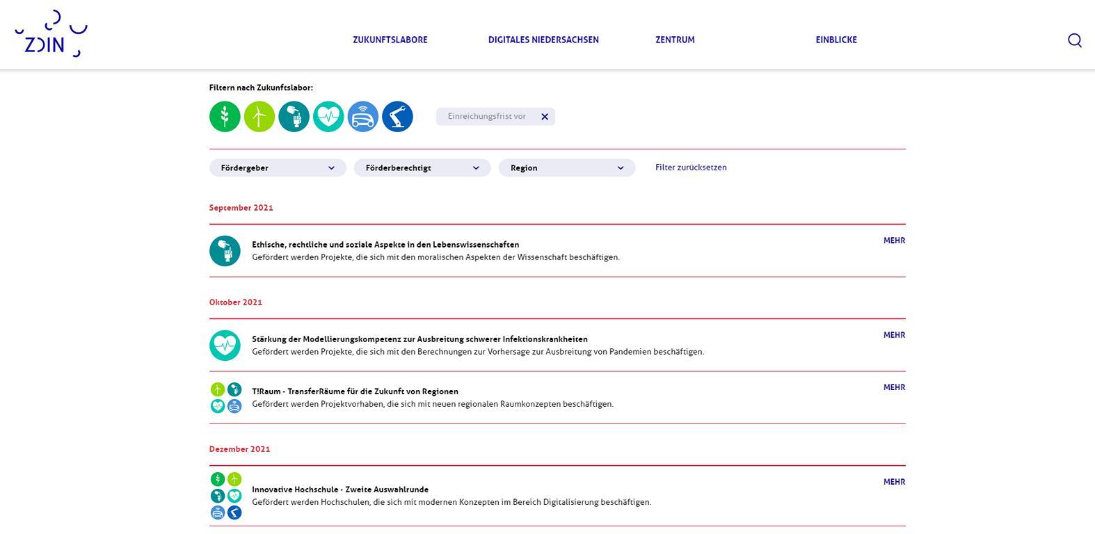 Screenshot des Förderkalenders auf der Homepage des ZDIN.